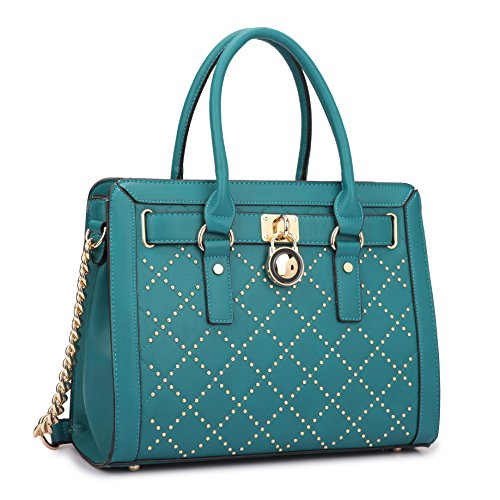 Dasein Fashion Women's Faux Leather Quilted Padlock Satchel Handbag Briefcase With Shoulder Strap (Studded, Turquoise)