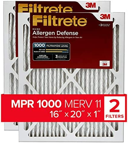 Filtrete 16x20x1, AC Furnace Air Filter, MPR 1000, Micro Allergen Defense, 2-Pack (precise dimensions 15.719 x 19.719 x 0.84)
