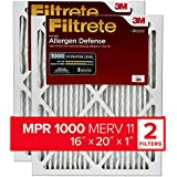 Filtrete MPR 1000 16x20x1 AC Furnace Air Filter, Micro Allergen Defense, 2-Pack