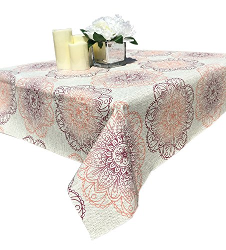 Qute Home 55 x 95-inch Rectangle Tablecloth | Medallion Crimson Red Vinyl Dining Table Cover (Seats 6-8 People)