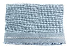Infant Boys Blue Cotton Knit Shawl Baby Receiving Blanket Take Home Layette