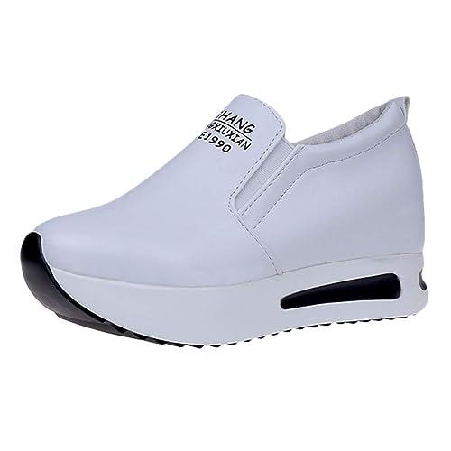 LHWY Zapatillas Mocasines de Deportes Moda Mujer Casual Sólido Grueso Plataforma Zapatos Deportivos Zapatillas de Deporte Dama Zapatos Planos: Amazon.es: ...