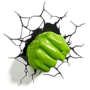 3D Light FX Luz led para pared con forma del puño derecho de Hulk de Marvel, lámpara de decoración en 3 dimensiones (descontinuada por el fabricante)