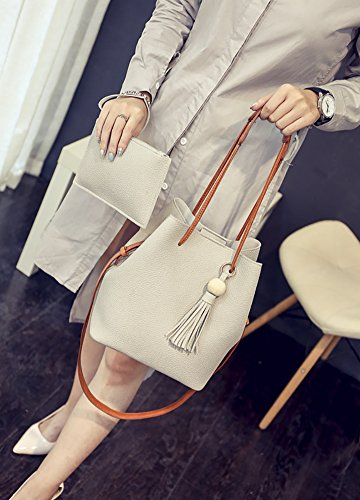 Bag Tassel Leather QZUnique Women's Handbag Gray Bag Bucket PU Tote Crossbody Bags Shoulder qEzIfIw