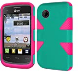 lg 305c phone case - FastSun Dynamic Hybrid Case Phone Cover Accessory for TRACFONE LG 306G LG306G (Teal-Hot Pink)