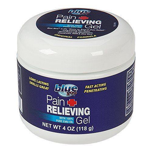 BLUE GOO PAIN RELIEVING GEL, 4 Ounce, Fast Acting, Cooling/Soothing Relief, for Back/Neck Pain, Muscle/Joint Pain, Arthritis, Sprains, Bursitis, Strains, Tendonitis, made with 100% PURE EMU -
