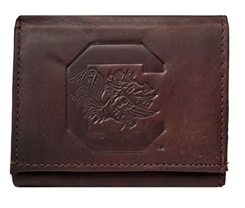 (Rico South Carolina Gamecocks NCAA Embossed Logo Dark Brown Leather Trifold Wallet)