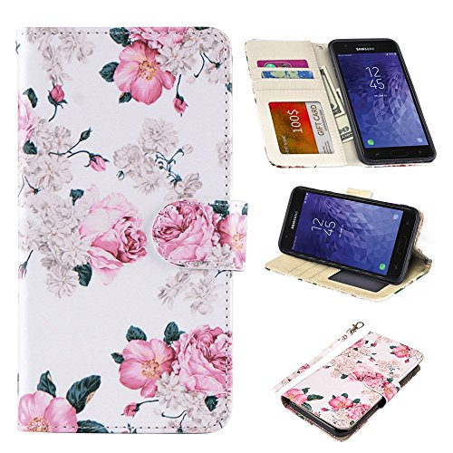 UrSpeedtekLive Samsung Galaxy J3 2018 Case, Galaxy J3 Achieve/Amp Prime 3/J3 Eclipse 2/J3 Prime 2 Premium PU Leather Wristlet Flip Wallet Case Cover with Card Slots & Stand,Flower