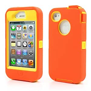 Slick Shell Hybrid Armor Orange/Yellow 3 in 1 Defend Hard/Soft Impact Silicone Case for Apple iPhone 4/4S