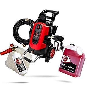 Adam's Electric Pressure Washer Car Wash Kit – Powerful 1.8 GPM 2500 PSI   Snub Nose & Tip Attachment   Use W/ Foam Gun…