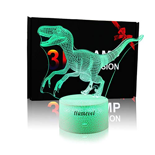 Dinosaur Night Lights for Kids Christmas Gift Birthday Indoraptor Toy 3D Illusion Lamp Dino Gifts for Boys Home Bedroom Party Supply Decoration 7 Color Blue Raptor (Velociraptor)