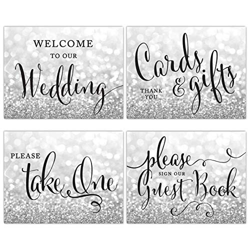 Andaz Press Unframed Wedding Party Signs, 8.5x11-inch, Glitzy Silver Glitter, Welcome to Our Wedding, Cards and Gifts, Please Take One Favors, Please Sign Guestbook, 4-Pack, Frames Sold Separately -