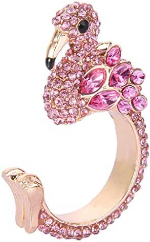 EVER FAITH® Gold-Tone Austrian Crystal Lovely Little Flamingo Statement Cuff Ring Pink