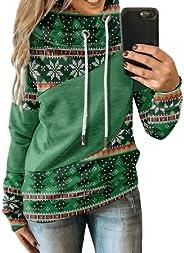 Kookmean Womens Sweaters, Fall 2021 Casual Christmas Hooded Sweatshirts Winter Long Sleeve Tops Pullover Sweat