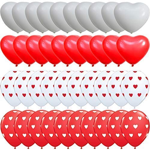 KATCHON Heart Balloons Decorations Kit for Valentines Day - Pack of 40 Ballons - Heart Shape Latex Balloons - Heart Printed Latex Balloons - Valentines Day Decorations - Valentine Balloons