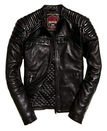 Superdry Hero Leather Racer Jacket Black (Superdry Mens Leather Jacket)
