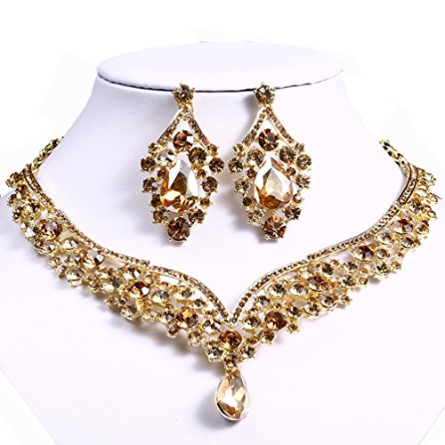 omylady Women's Wedding Bridal Party Rhinestone Necklace Dangle Earrings Sets Set Crystal Teardrop Statement Jewelry Set (Champagne) by omylady