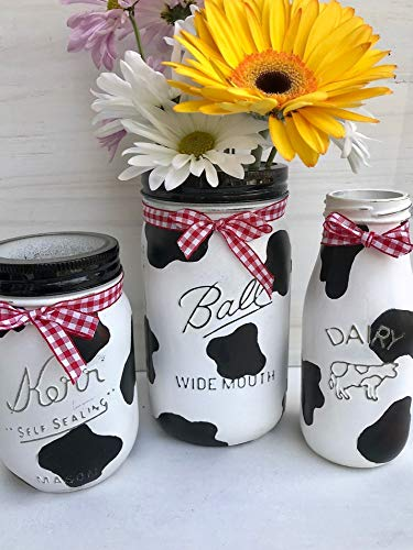 - Painted Mason Jar Set Farmhouse Kitchen Decor Country Centerpieces For Table