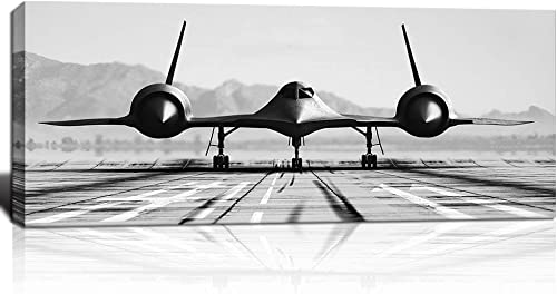 KLVOS Black and White Wall Art Large Airplane Aircraft Picture Print on Canva