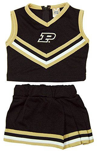 Little King NCAA Purdue Boilermakers Two Piece Cheer Dress, 2 Tall, Gold