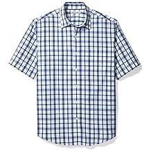 Amazon Essentials Men's Short-Sleeve Uneven Windowpane Shirt