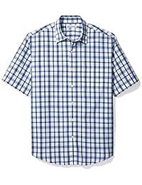 Amazon Essentials Men's Regular-Fit Short-Sleeve Plaid Shirt