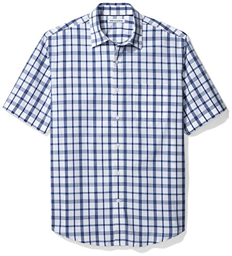Amazon Essentials Men's Regular-Fit Short-Sleeve Casual Poplin Shirt, White/Blue Plaid, -