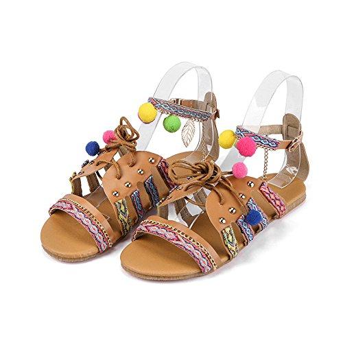 Hope Femmes Bohème Style Ethnique Sandales Plates Dames Peep Toe Lacent Chaussures De Plage Brown BWKesXrMhX