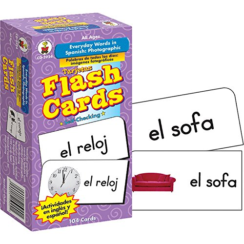 Carson Dellosa - Everyday Words in Spanish / Palabras de Todos Los Días Flash Cards - Toddler Learning Cards ESL Bilingual for Kids and Adults (Best Spanish To English Translation Site)