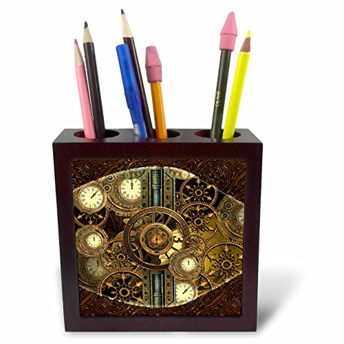 3dRose Steampunk, Golden Design Clocks and Gears Tile Pen Holder, 5