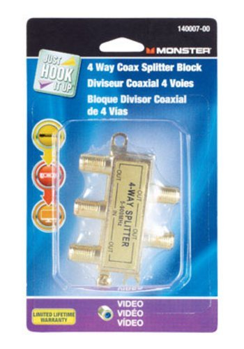 (Monster Cable 4 Way Coax Splitter 75 Ohm 900 Mhz Carded)