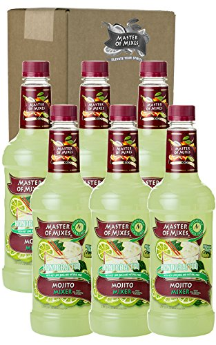 Master of Mixes Mojito Drink Mix, Ready To Use, 1 Liter Bottle (33.8 Fl Oz), Pack of 6