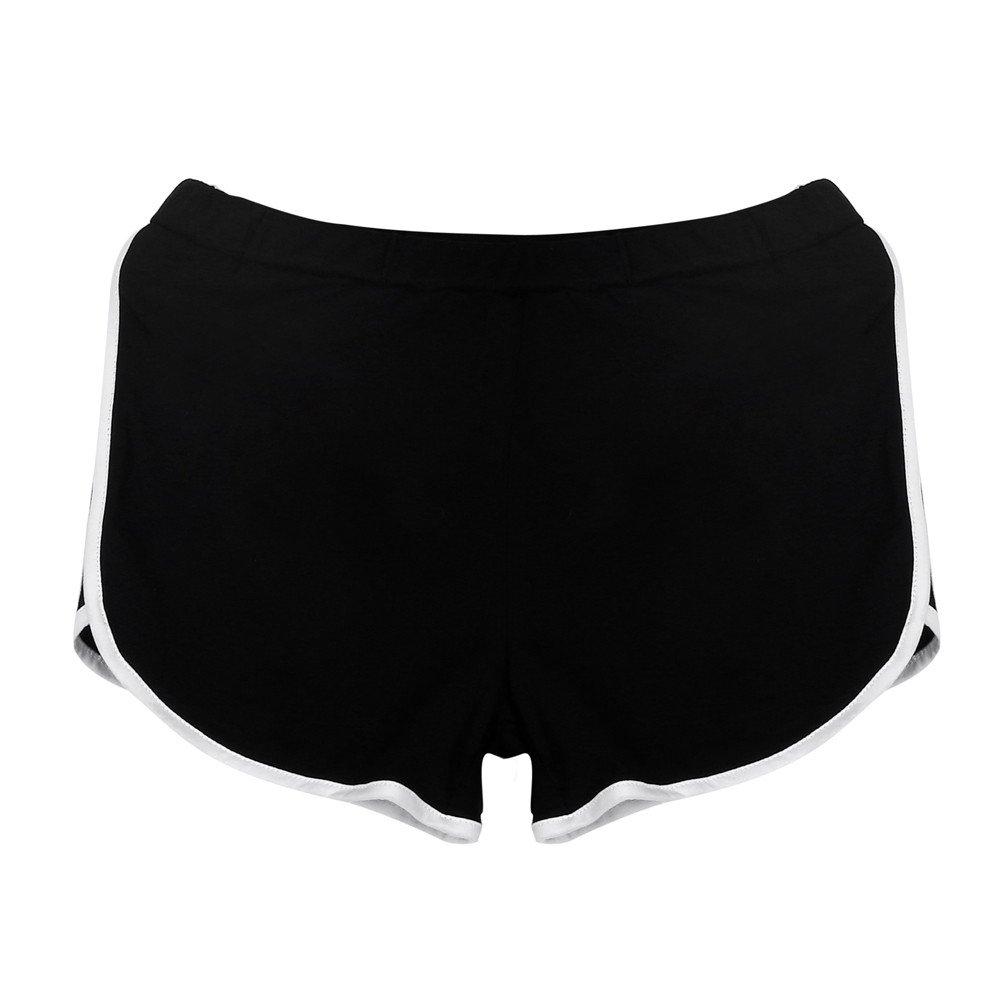 TRENDINAO Running Workout Shorts Women, New Summer Pants Women Sports Shorts Gym Waistband Skinny Yoga Short Black