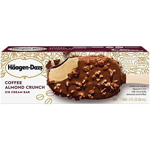 Haagen-Dazs, Coffee Almond Crunch Ice Cream Bar, 3.67 Oz. (12