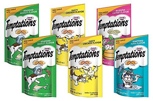 TEMPTATIONS Classic Cat Treats Feline Favorites Variety Pack, (6) 3 oz. Pouches