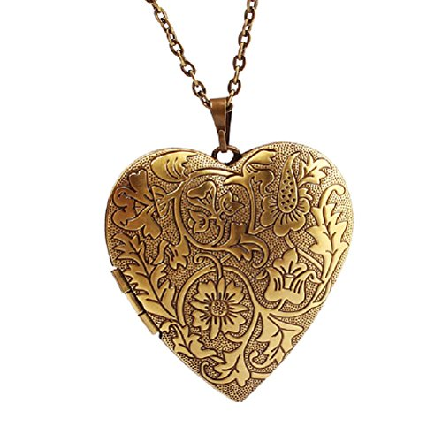 Picture Frame Locket - Bronze Heart Friend Photo Picture Frame Locket Pendant Chain Necklace