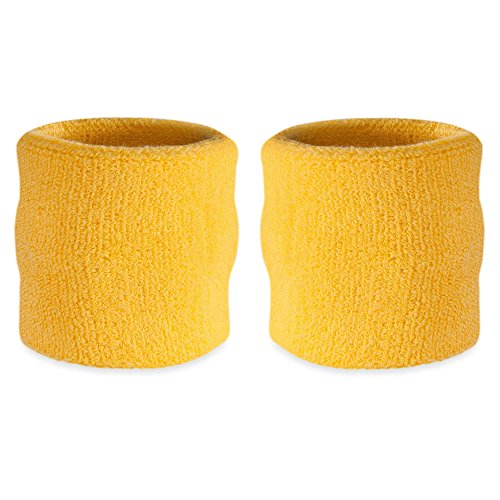 [Suddora Wrist Sweatbands Also Available in Neon Colors - Athletic Cotton Terry Cloth Wristbands for Sports (Pair)] (Gopher Costumes)