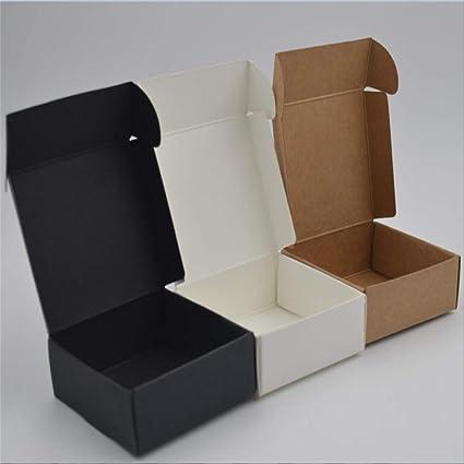 50pcs-simple Diy Caja de papel Kraft de color sólido hecha a mano Caja de regalo Caja de bombones de chocolate Boda con caja de regalo Accesorios de fiesta de cumpleaños 50PCS-Random Color-S: