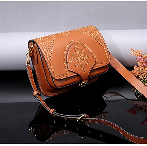 cuero Bolso del de totalizador Bolso de de de genuino las bolsa taleguilla hombro de para montar diseñador del de la mano silla Brown del Bolsos la la las de señoras señoras RWq5T10nU