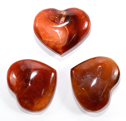33mm Red Carnelian Agate Heart Polished Natural Gemstone Crystal Mineral Palm Stone - Madagascar (1PC)