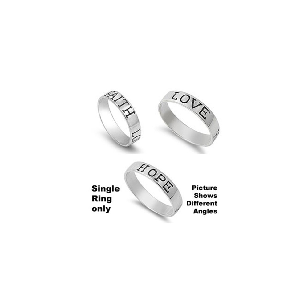Sterling Silver Fancy ''FAITH LOVE HOPE'' Band Ring with Ring Bnd Width of 4.6MM