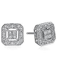 Sterling Silver Diamond Square Shape Stud Earrings (1/10 cttw, I-J Color, I2-I3 Clarity)