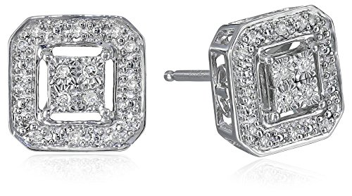 Sterling Silver Diamond Square Shape Stud Earrings (1/10 cttw, I-J Color, I2-I3 (Diamond Stud Square Earrings)