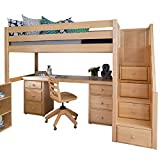 Maxtrix Solid Hardwood Twin-Size Low Loft Bed with Storage Staircase Entry, Integrated Desk, and 2x 3 1/2 Drawer Dresser, Natural