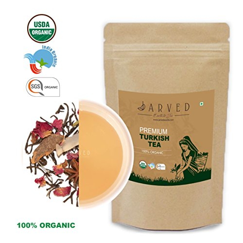 Jarved 100% Organic Orthodox Whole Loose Leaf Natural Handmade FilizTurkish Tea: Blended, FTGFOP1 Grade, Fair Trade, USDA Certified (45 Cups, 3.5 oz) in Eco Friendly ziplock- Farm to Cup -