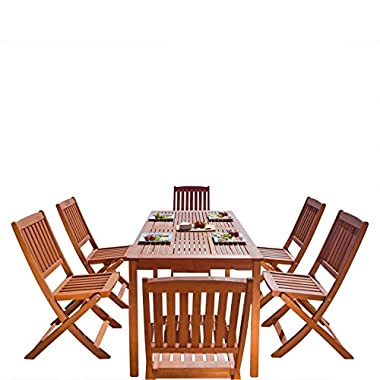 VIFAH V98SET4 Outdoor Wood 7-Piece Dining Set, Natural Wood Finish, 59 by 31.5 by 29-Inch
