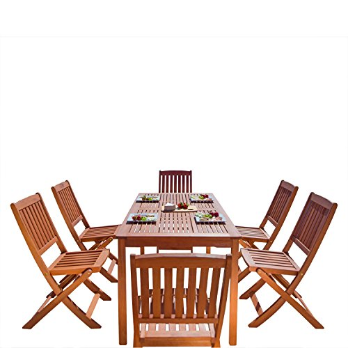 VIFAH V98SET4 Outdoor Malibu Wood 7-Piece Dining Set, Natural Wood Finish, 59 by 31.5 by - Dinette Set Outdoor