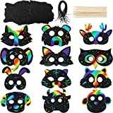36 Sets Scratch Paper Animal Masks Scratch Rainbow Masks with Elastic Cords and Wood Stylus for Costume Dress up Parties Decorations
