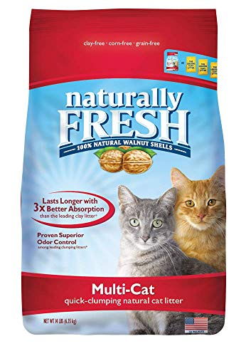 Naturally Fresh Cat Litter - Walnut-Based Quick-Clumping Kitty Litter, Unscented, Multi-Cat, 14 lb