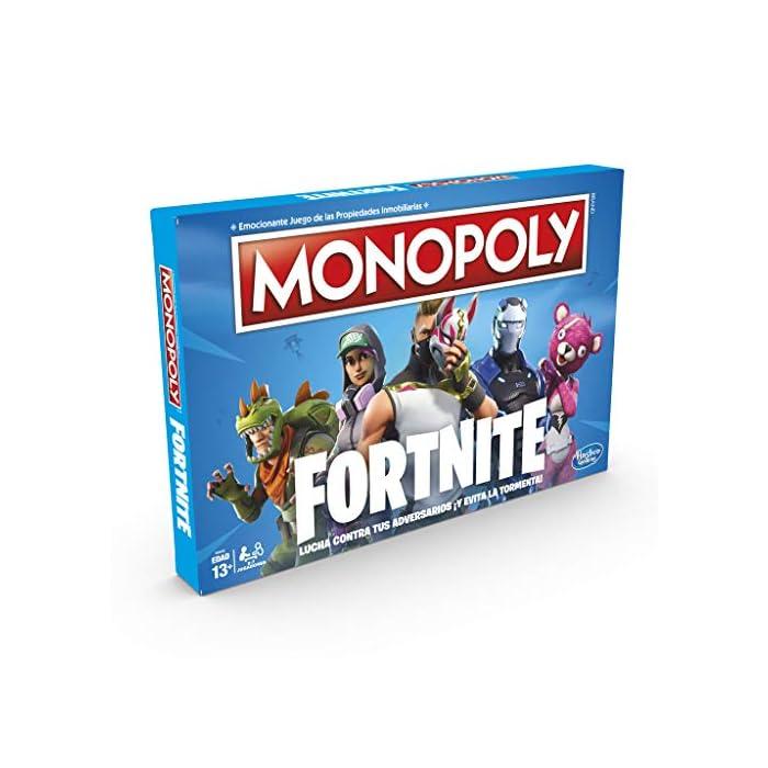 Monopoly - fortnite (hasbro e6603105) Para los fans de fortnite: en este juego monopoly, basado en el popular videojuego fortnite, los jugadores se apoderan de lugares, luchan en contra de sus oponentes y evitan la tormenta para sobrevivir; el último jugador en pie gana Propiedades fortnite y puntos de vida: la edición fortnite del juego monopoly presenta los lugares del videojuego como propiedades; además, los jugadores tienen el objetivo de ganar puntos de vida en vez de dinero monopoly para mantenerse en el juego